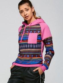 Tribal Pattern Hoodie - Pink S