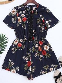Combinaison à Lacet Et à Motif Floral Avec Collier Ras De Cou - Bleu S
