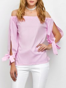 Split Sleeve Off The Shoulder Blouse