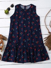 Sleeveless Cherry Ruffle Dress