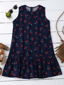 Sleeveless Cherry Ruffle Dress - Deep Blue Xl