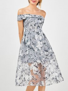 Off The Shoulder Floral Tea Length 50s Dress - Smoky Gray L