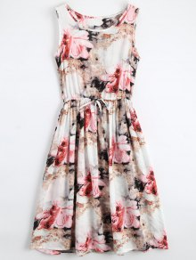 Midi Sleeveless Drawstring Floral Dress