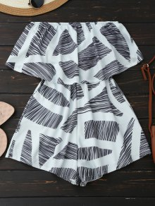 Strapless Geometric Pattern Romper - White S
