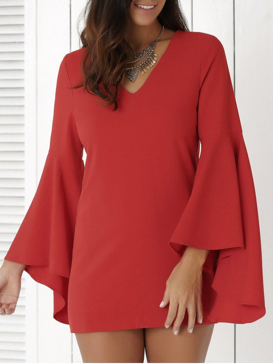 shop Solid Color Plunging Neck Flare Sleeve Sheath Sexy Mini Dress - RED 2XL
