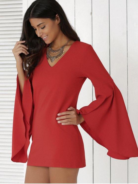 Solid Color Plunging Neck Flare Sleeve Sheath Sexy Mini Dress - RED L Mobile