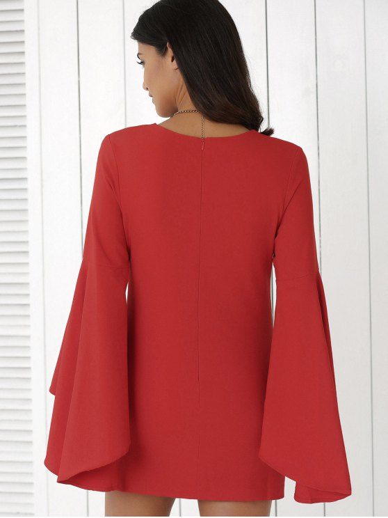 Solid Color Plunging Neck Flare Sleeve Sheath Sexy Mini Dress - RED M Mobile