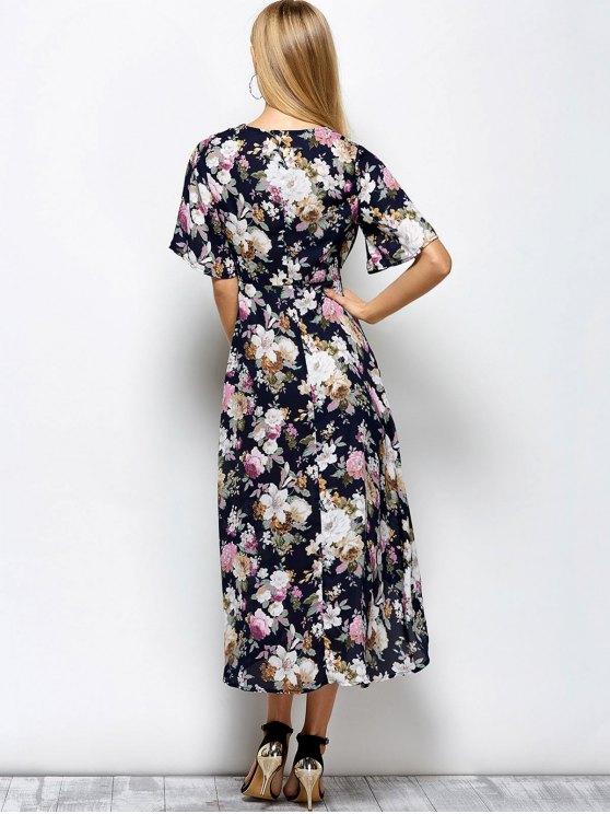 Front Slit Floral Maxi Surplice Dress - FLORAL M Mobile