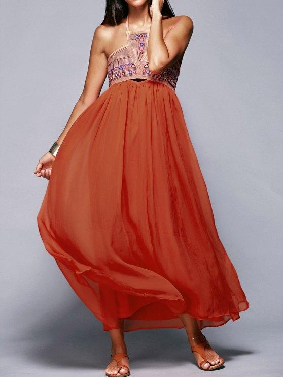 shop Halter Neck Flowing Dress - JACINTH L