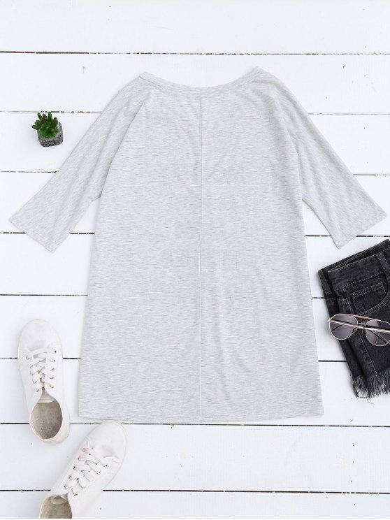 Loose Mom Print Longline Shift T-Shirt - LIGHT GRAY M Mobile