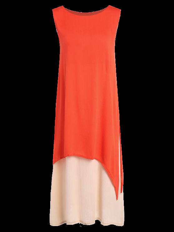 Two Piece Tank Dress - ORANGE S Mobile