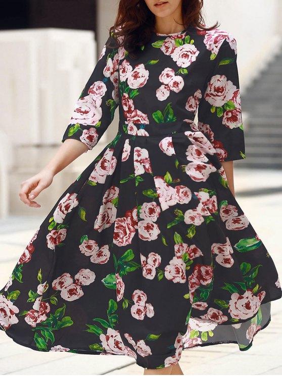 Midi Vestido con Estampado Floral con Manga hasta el Antebrazo - Negro S