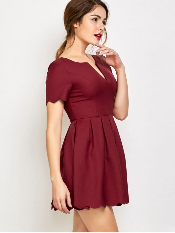 Ruched Scalloped A-Line Dress - RED L Mobile