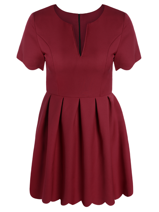 Ruched Scalloped A-Line Dress - RED M Mobile