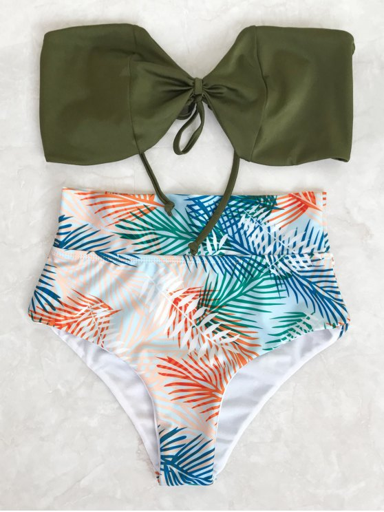 fashion Tropical Bandeau High Waisted Bikini Set - LEAF S