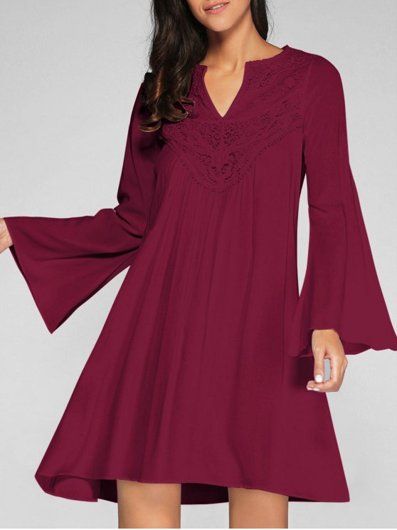 unique Flare Sleeve Trapeze Dress - WINE RED M