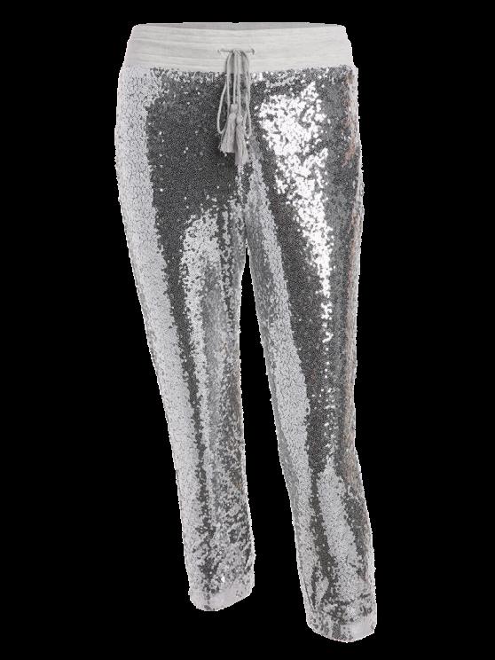 Sequins Drawsting Jogging Pants - SILVER M Mobile