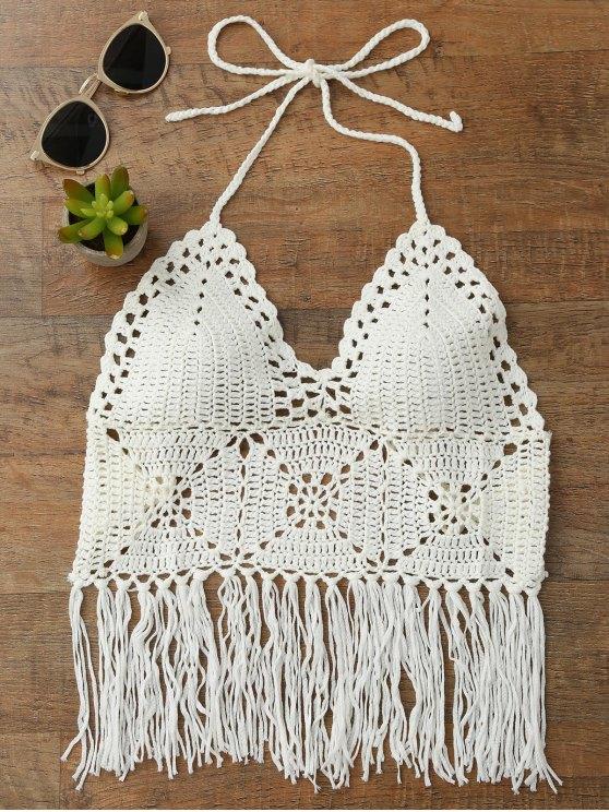 shop Tassels Crochet Bralette Bikini Top - WHITE ONE SIZE
