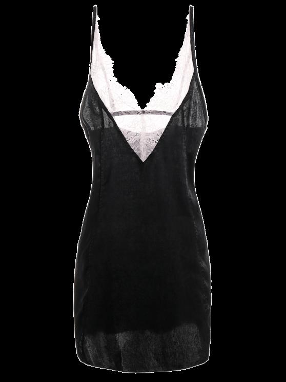 Cami Lace Panel Satin Backless Dress - BLACK S Mobile