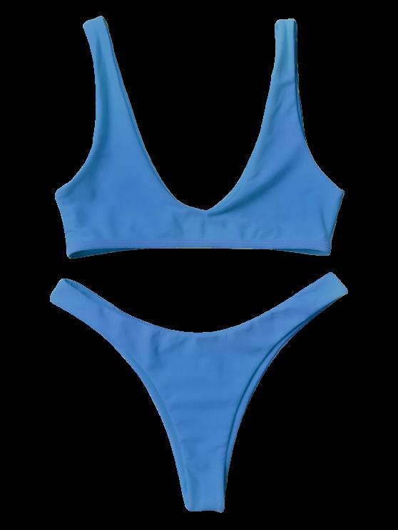High Cut Scoop Bikini Set - BLUE M Mobile