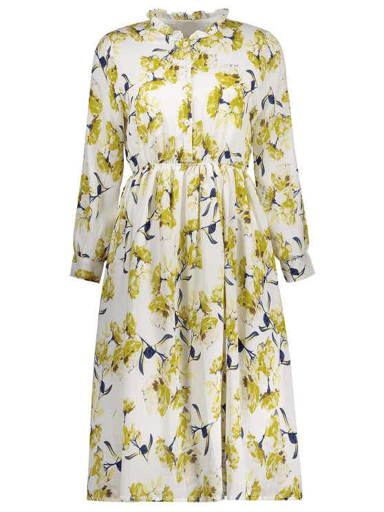 Long Sleeve Painted Flower Shirt Dress - YELLOW M Mobile