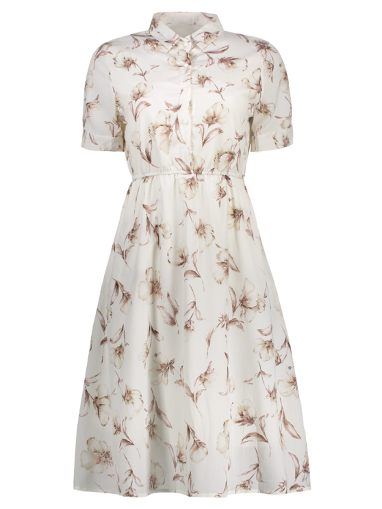 Half Buttoned Floral Shirt Dress - WHITE M Mobile