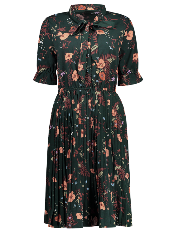 Pussy Bow Tie Floral Pleated Shirt Dress - BLACKISH GREEN S Mobile
