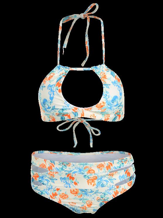 High-Cut Floral Print Stringy Bikini Set - COLORMIX L Mobile