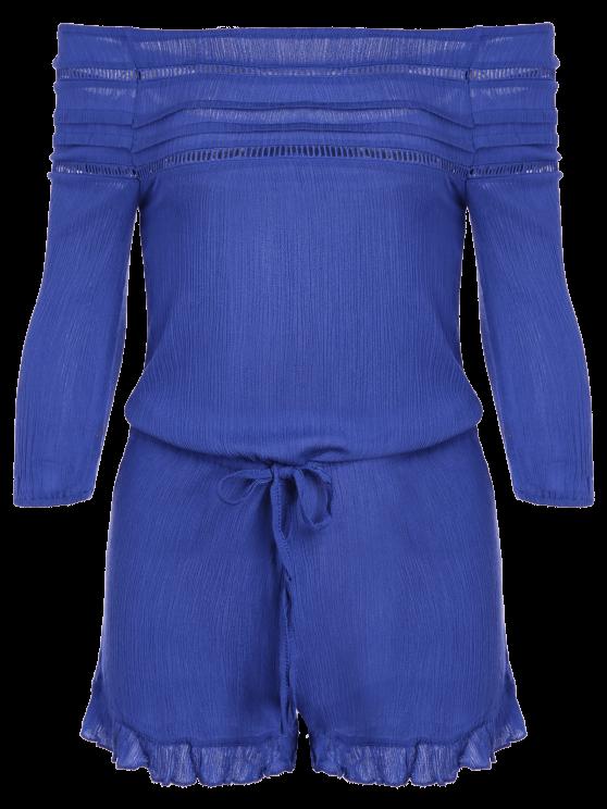 Off-The-Shoulder Drawstring Design Romper - BLUE L Mobile