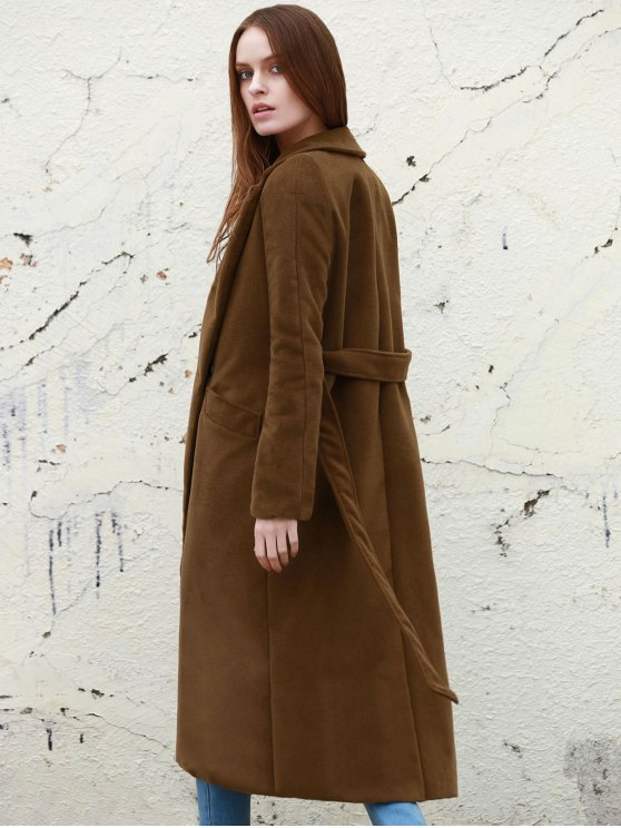 Lapel Solid Color Long Overcoat - CAMEL S Mobile