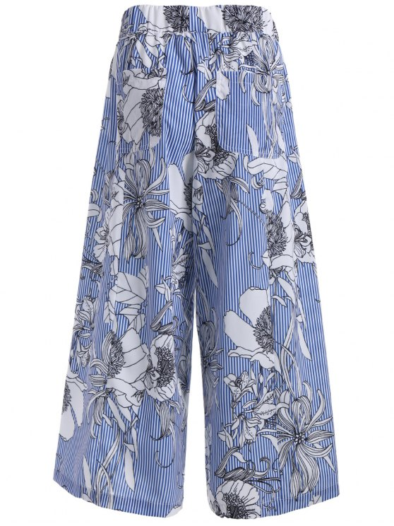 Floral Stripes Wide Leg Pants - COLORMIX M Mobile