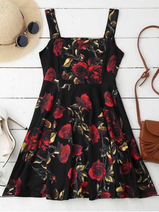 women Rose Print Sleeveless Skater Dress - BLACK S