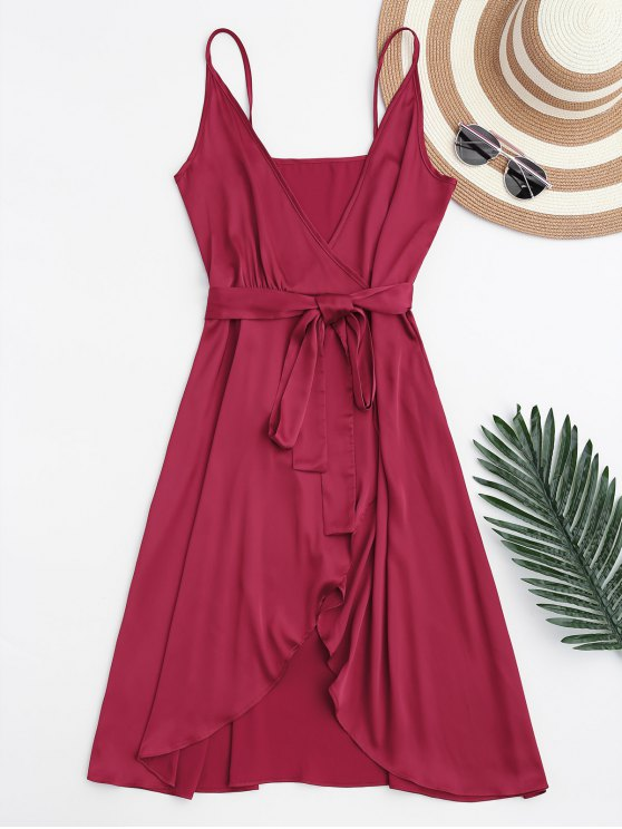 outfits Spaghetti Straps Satin Belted Wrap Dress - RED M