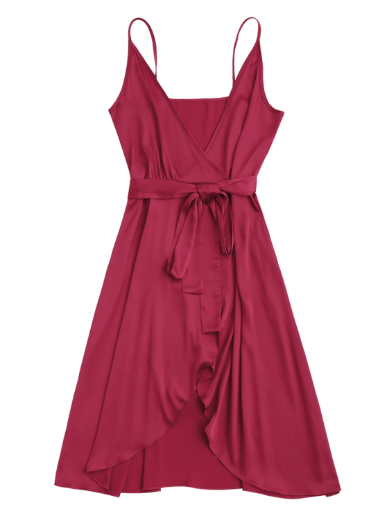 Spaghetti Straps Satin Belted Wrap Dress - RED L Mobile
