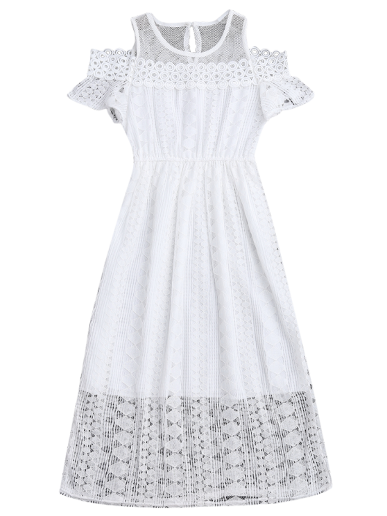 Cold Shoulder Midi Crochet Lace Dress - WHITE M Mobile
