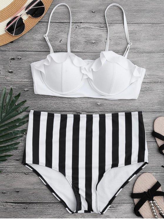 Bikini con cuello alto y rizado - Blanco M