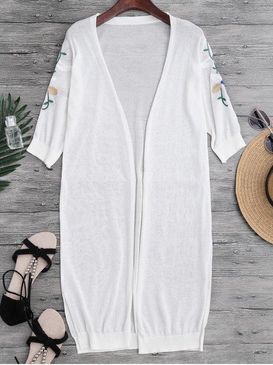 Slit Floral Longline bordado para arriba - Blanco Única Talla