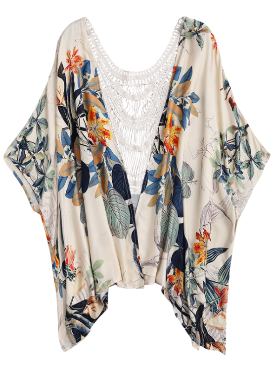 Floral Crochet Panel Kimono Cover Up - FLORAL ONE SIZE Mobile