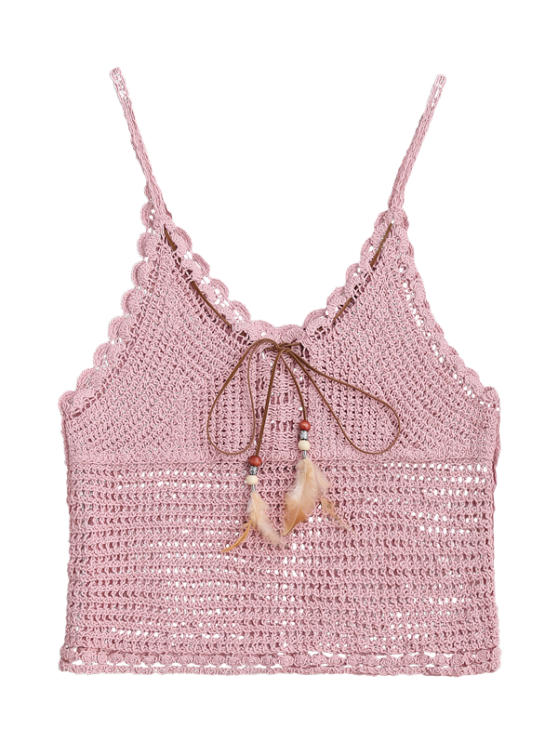 Crochet Cami Cover Up with Feather - PINK ONE SIZE Mobile