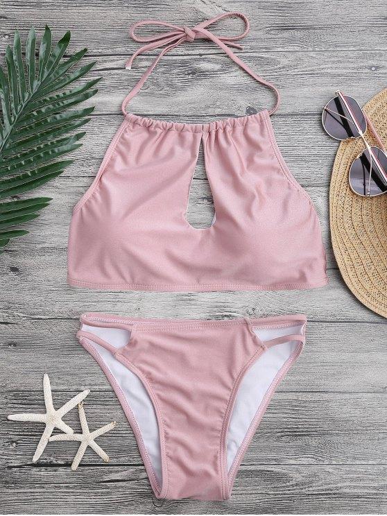 fancy Keyhole Cut Out Halter Bikini Set - PINK L