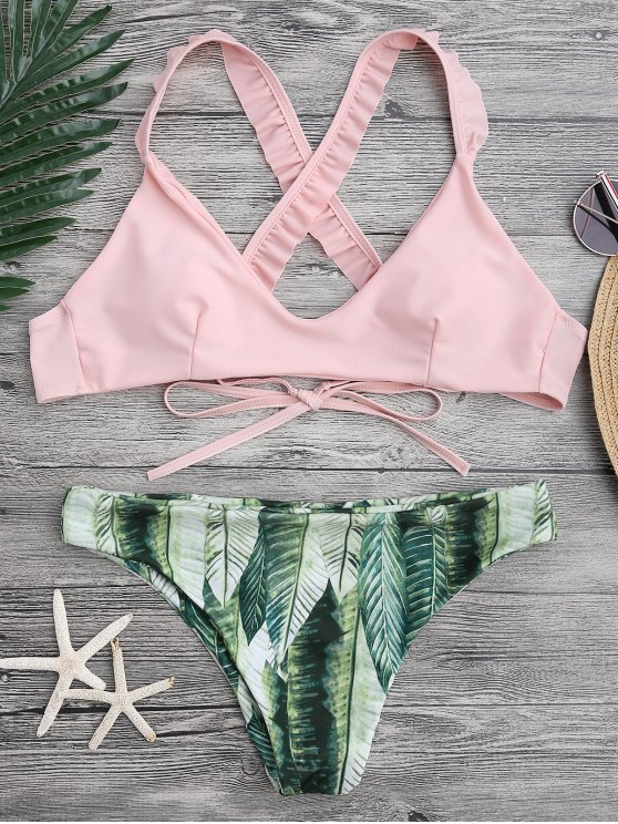 Ruffled Bikini Top And Tropical Bottoms - Pink