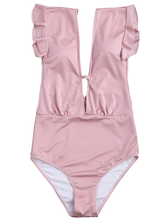 Frilled Plunge One Piece Swimsuit - PINK L Mobile