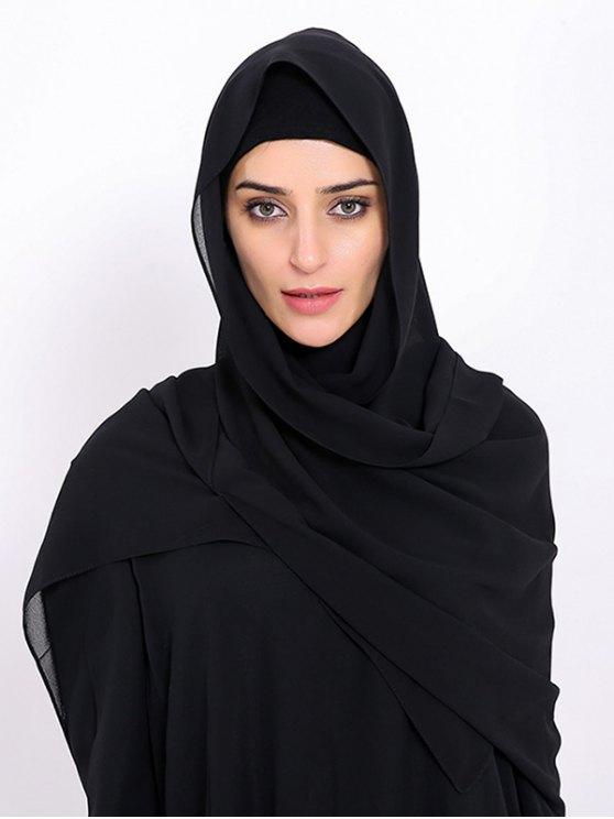 Foulard islamique musulman Chiffon Gossamer Hijab - Noir