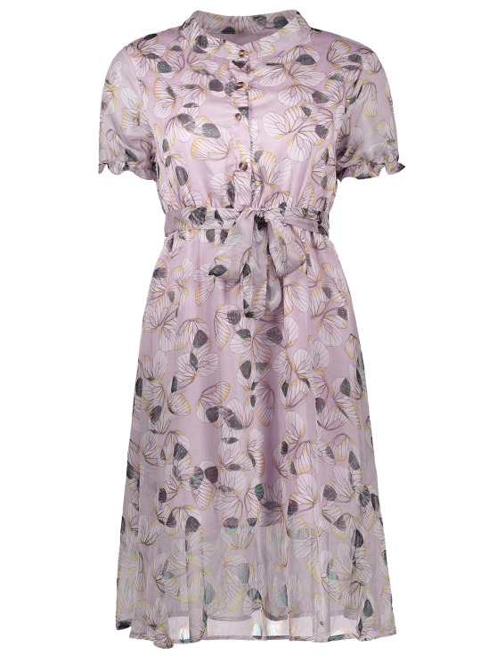Buttoned Print Holiday Dress With Belt - JUBILEE M Mobile