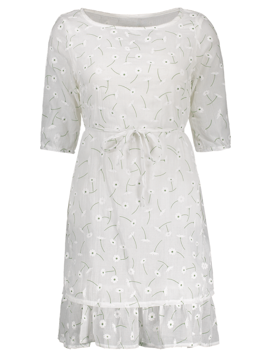 Ruffle Hem Floral Holiday Dress With Belt - WHITE S Mobile