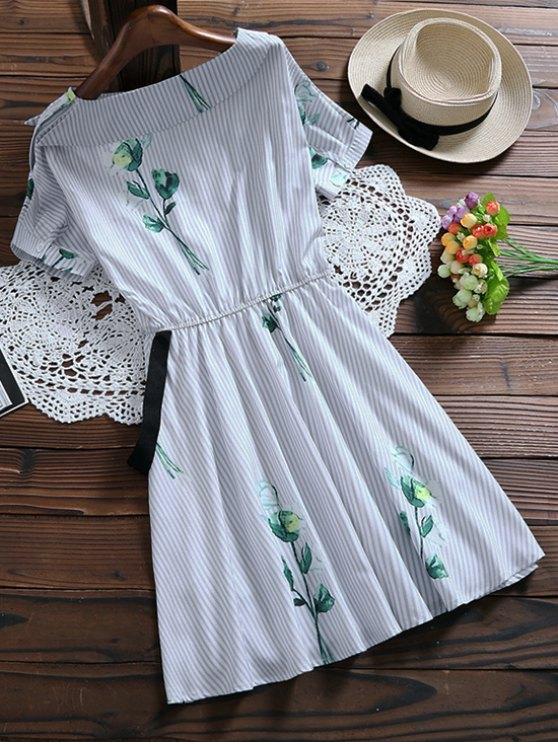Floral Striped Dress With Belt - LIGHT BLUE S Mobile