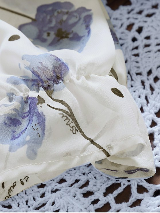 Tie Neck Floral Elastic Waist Chiffon Dress - WHITE M Mobile