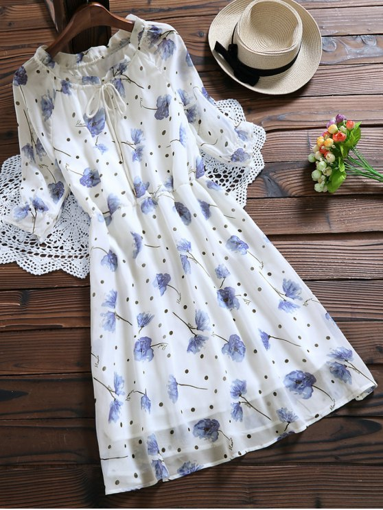 women's Tie Neck Floral Elastic Waist Chiffon Dress - WHITE XL