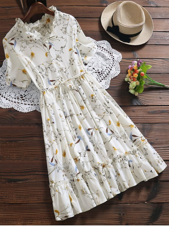 ladies Ruffle Hem Oversized Floral Dress - WHITE S