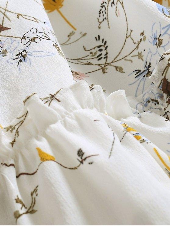 Ruffle Hem Oversized Floral Dress - WHITE XL Mobile